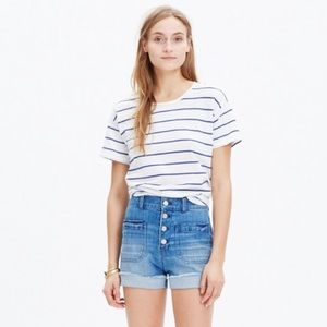 Madewell high rise denim shorts button front. 26